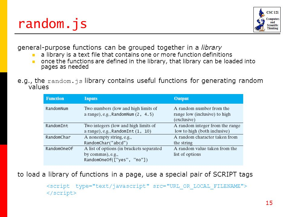 15 random.js general-purpose functions can be grouped together in a library a library is a text file that contains one or more function definitions once the functions are defined in the library, that library can be loaded into pages as needed e.g., the random.js library contains useful functions for generating random values to load a library of functions in a page, use a special pair of SCRIPT tags