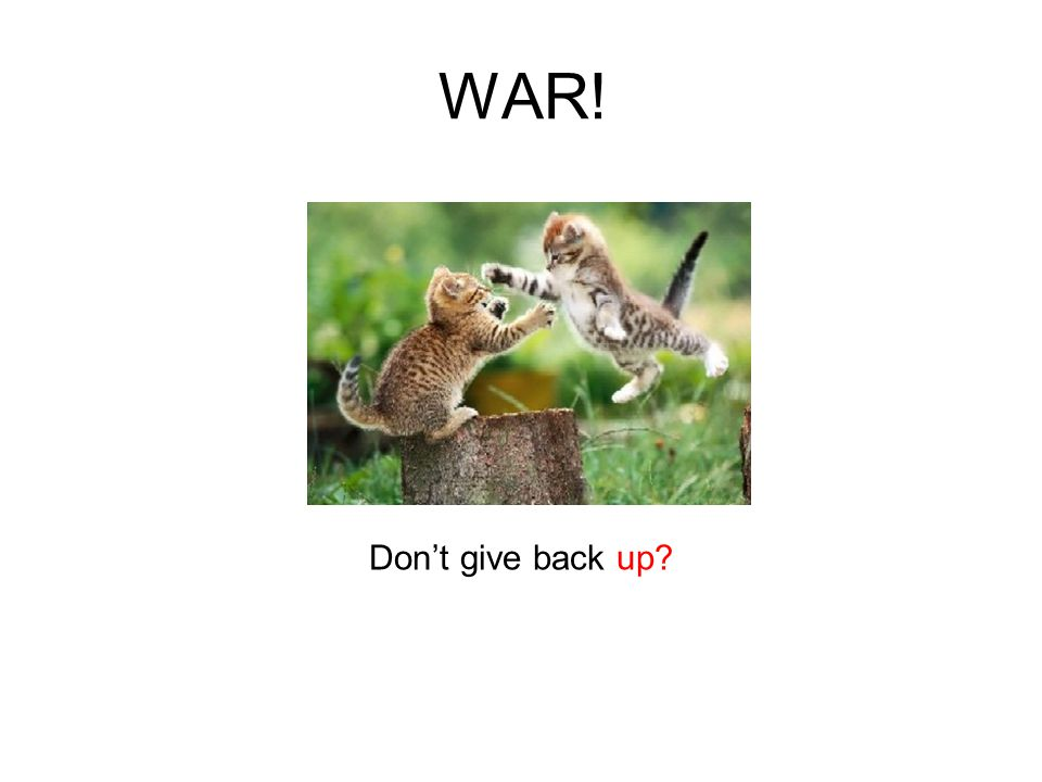 WAR! Don't give back up