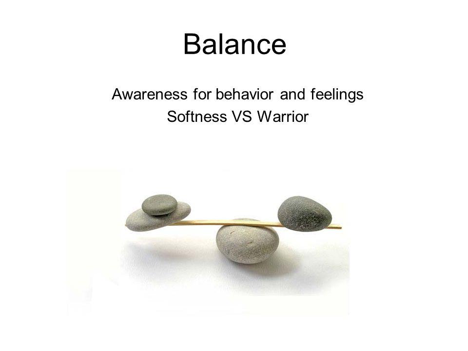 Balance Awareness for behavior and feelings Softness VS Warrior