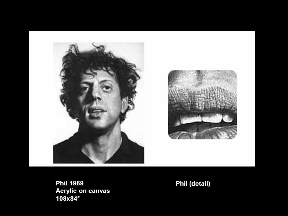 "Phil 1969 Acrylic on canvas 108x84"" Phil (detail)"