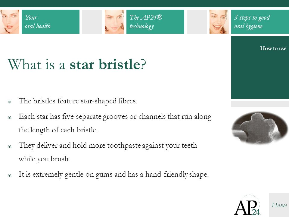Your oral health The AP24® technology 3 steps to good oral hygiene Home What is a star bristle?  The bristles feature star-shaped fibres.  Each star