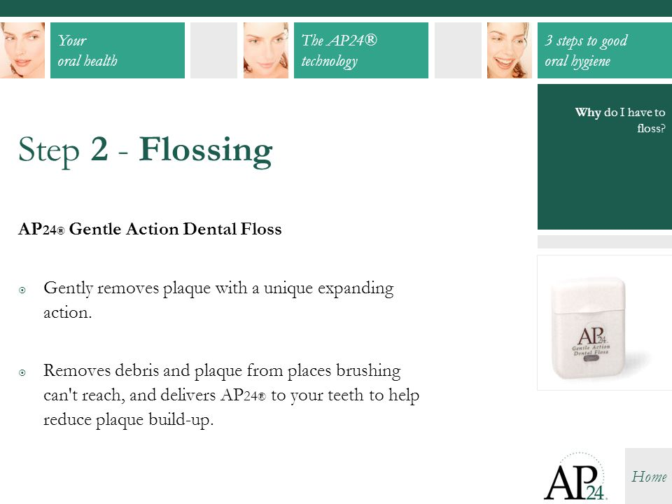 Your oral health The AP24® technology 3 steps to good oral hygiene Home Why do I have to floss? Step 2 - Flossing AP 24 ® Gentle Action Dental Floss 