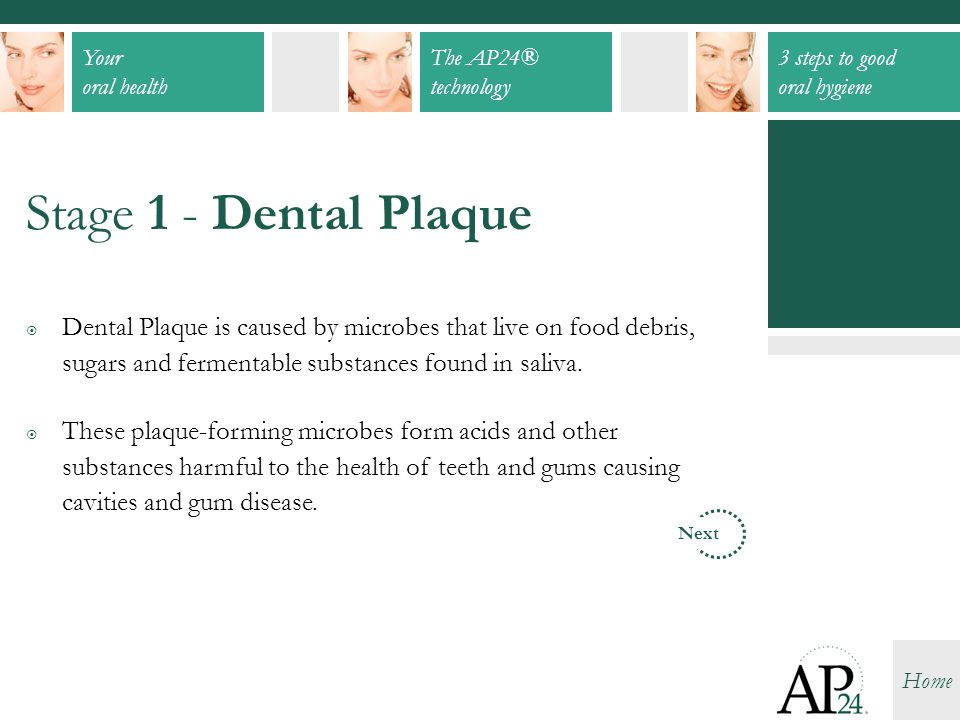 Your oral health The AP24® technology 3 steps to good oral hygiene Home  Dental Plaque is caused by microbes that live on food debris, sugars and fer