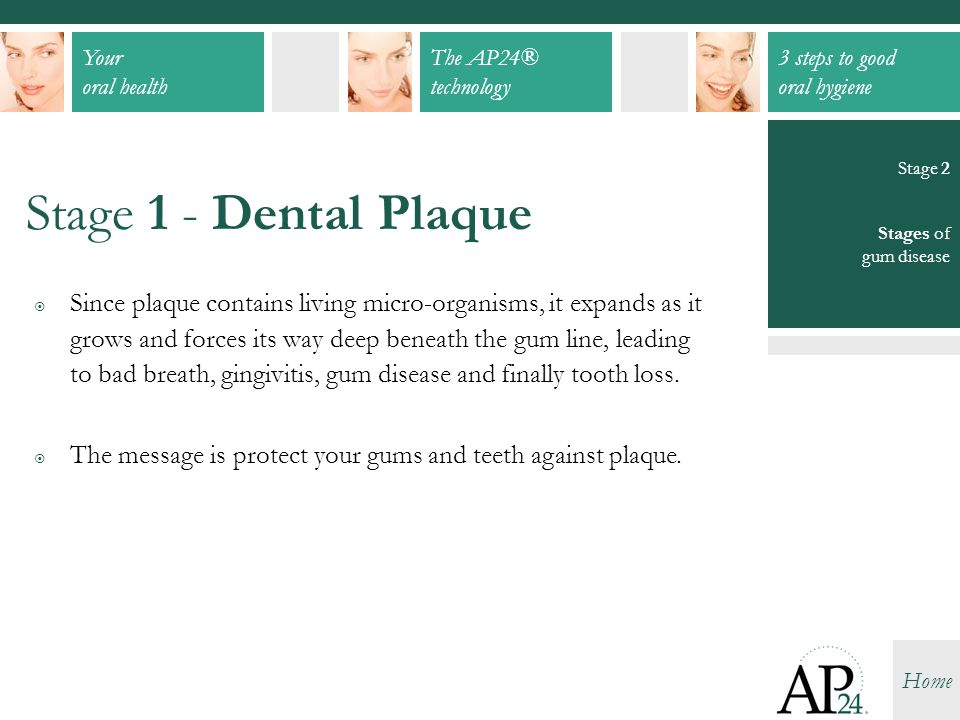 Your oral health The AP24® technology 3 steps to good oral hygiene Home  Since plaque contains living micro-organisms, it expands as it grows and for