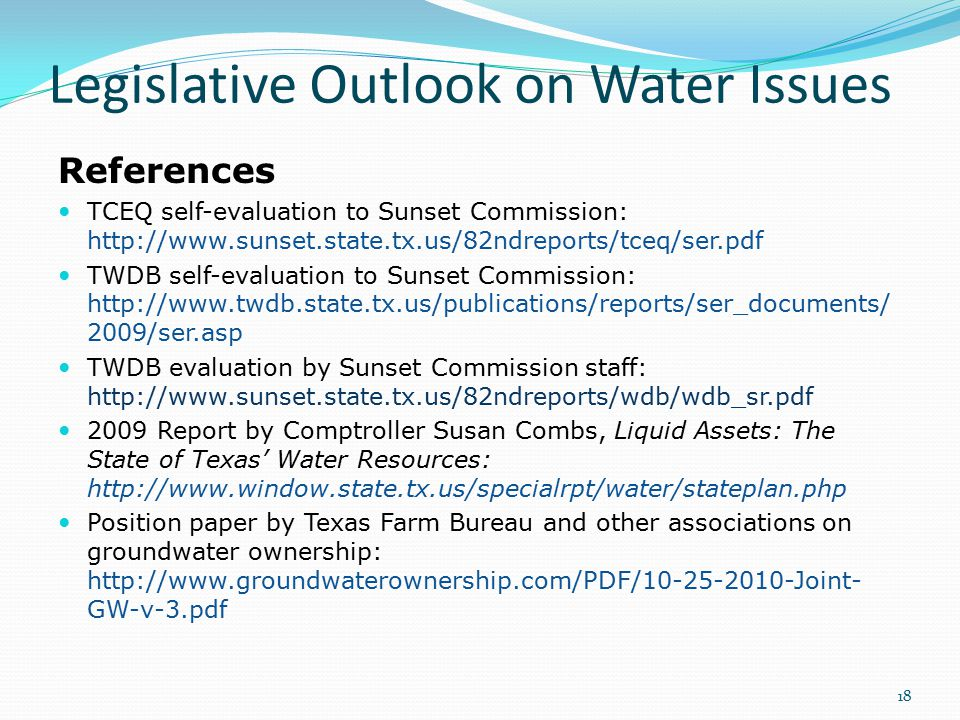 Legislative Outlook on Water Issues References TCEQ self-evaluation to Sunset Commission: http://www.sunset.state.tx.us/82ndreports/tceq/ser.pdf TWDB self-evaluation to Sunset Commission: http://www.twdb.state.tx.us/publications/reports/ser_documents/ 2009/ser.asp TWDB evaluation by Sunset Commission staff: http://www.sunset.state.tx.us/82ndreports/wdb/wdb_sr.pdf 2009 Report by Comptroller Susan Combs, Liquid Assets: The State of Texas' Water Resources: http://www.window.state.tx.us/specialrpt/water/stateplan.php Position paper by Texas Farm Bureau and other associations on groundwater ownership: http://www.groundwaterownership.com/PDF/10-25-2010-Joint- GW-v-3.pdf 18