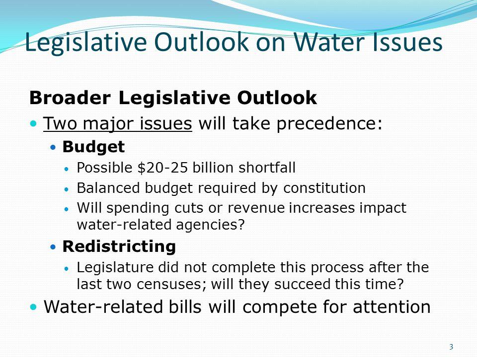 Legislative Outlook on Water Issues Broader Legislative Outlook Two major issues will take precedence: Budget Possible $20-25 billion shortfall Balanc
