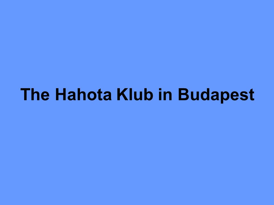 The Hahota Klub in Budapest