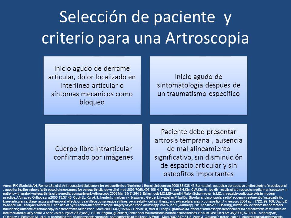 Selección de paciente y criterio para una Artroscopia Inicio agudo de derrame articular, dolor localizado en interlinea articular o síntomas mecánicos