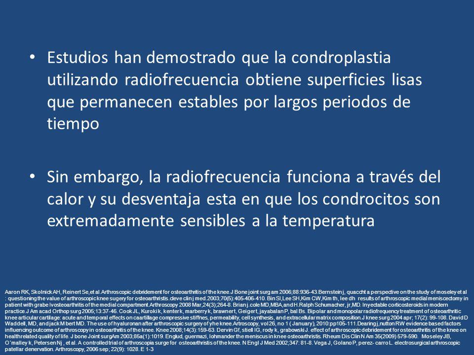 Estudios han demostrado que la condroplastia utilizando radiofrecuencia obtiene superficies lisas que permanecen estables por largos periodos de tiempo Sin embargo, la radiofrecuencia funciona a través del calor y su desventaja esta en que los condrocitos son extremadamente sensibles a la temperatura Aaron RK, Skolnick AH, Reinert Se,et al.Arthroscopic debridement for osteoarthritis of the knee.J Bone joint surg am 2006;88:936-43.Bernstein j, quaccht a perspective on the study of moseley et al : questioning the value of arthroscopic knee sugery for osteoarthristis.cleve clin j med.2003;70(5):405-406-410.
