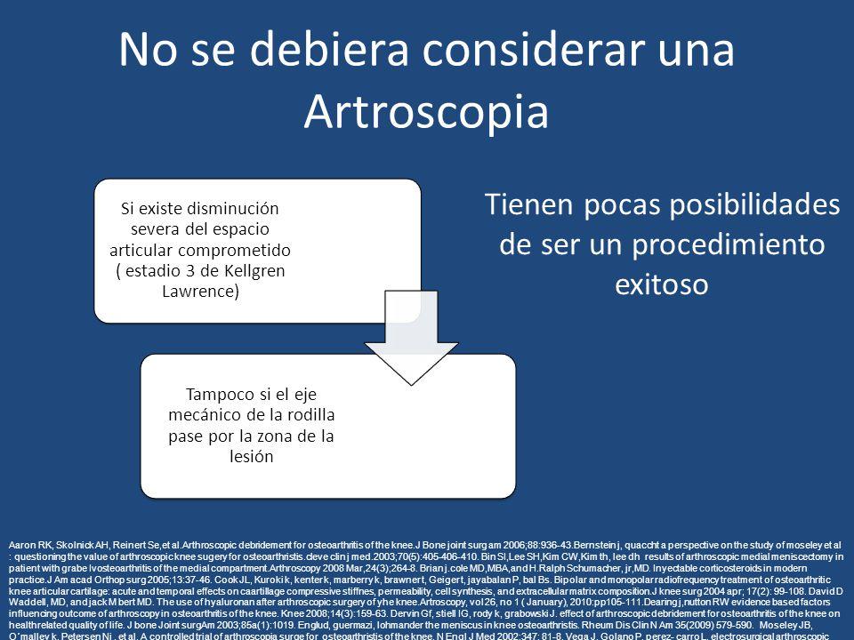 No se debiera considerar una Artroscopia Si existe disminución severa del espacio articular comprometido ( estadio 3 de Kellgren Lawrence) Tampoco si