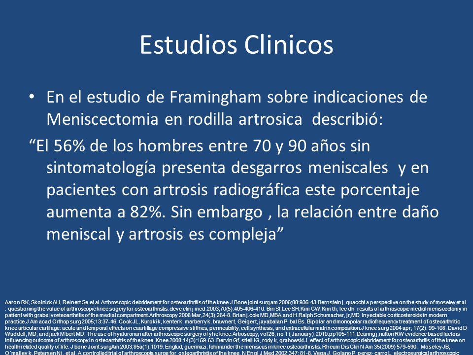 Estudios Clinicos En el estudio de Framingham sobre indicaciones de Meniscectomia en rodilla artrosica describió: El 56% de los hombres entre 70 y 90 años sin sintomatología presenta desgarros meniscales y en pacientes con artrosis radiográfica este porcentaje aumenta a 82%.