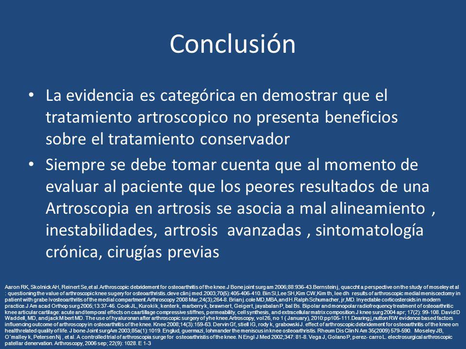 Conclusión La evidencia es categórica en demostrar que el tratamiento artroscopico no presenta beneficios sobre el tratamiento conservador Siempre se debe tomar cuenta que al momento de evaluar al paciente que los peores resultados de una Artroscopia en artrosis se asocia a mal alineamiento, inestabilidades, artrosis avanzadas, sintomatología crónica, cirugías previas Aaron RK, Skolnick AH, Reinert Se,et al.Arthroscopic debridement for osteoarthritis of the knee.J Bone joint surg am 2006;88:936-43.Bernstein j, quaccht a perspective on the study of moseley et al : questioning the value of arthroscopic knee sugery for osteoarthristis.cleve clin j med.2003;70(5):405-406-410.