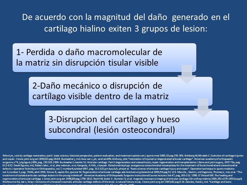 De acuerdo con la magnitud del daño generado en el cartilago hialino exiten 3 grupos de lesion: 1- Perdida o daño macromolecular de la matriz sin disrupción tisular visible 2-Daño mecánico o disrupción de cartílago visible dentro de la matriz 3-Disrupcion del cartílago y hueso subcondral (lesión osteocondral) Alford jw, cole bj cartilage restoration, part1: basic science, historial perspective, patient evaluation, and treatment options am j sports med 2005;33 pag 295-306.