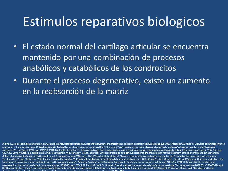 Estimulos reparativos biologicos El estado normal del cartílago articular se encuentra mantenido por una combinación de procesos anabólicos y catabóli