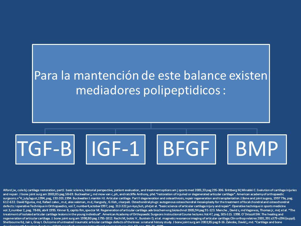 Para la mantención de este balance existen mediadores polipeptidicos : TGF-BIGF-1BFGFBMP Alford jw, cole bj cartilage restoration, part1: basic science, historial perspective, patient evaluation, and treatment options am j sports med 2005;33 pag 295-306.