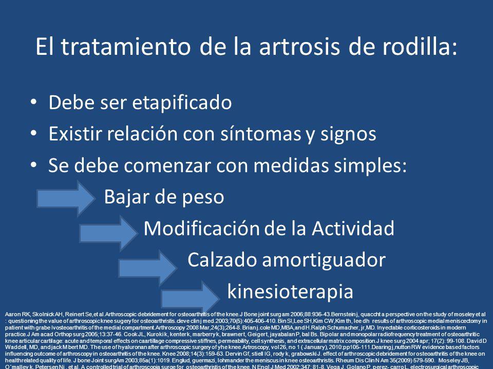 El tratamiento de la artrosis de rodilla: Debe ser etapificado Existir relación con síntomas y signos Se debe comenzar con medidas simples: Bajar de p