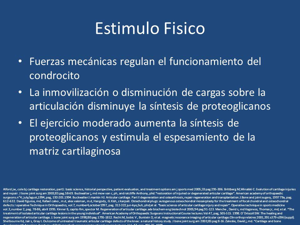 Estimulo Fisico Fuerzas mecánicas regulan el funcionamiento del condrocito La inmovilización o disminución de cargas sobre la articulación disminuye l