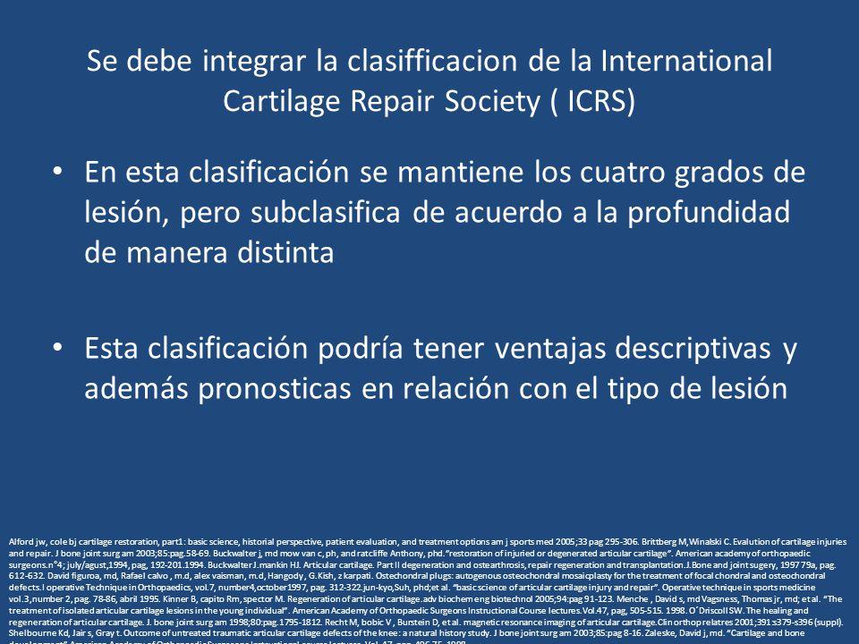 Se debe integrar la clasifficacion de la International Cartilage Repair Society ( ICRS) En esta clasificación se mantiene los cuatro grados de lesión,