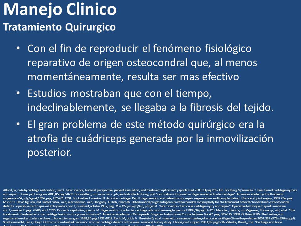 Manejo Clinico Tratamiento Quirurgico Con el fin de reproducir el fenómeno fisiológico reparativo de origen osteocondral que, al menos momentáneamente