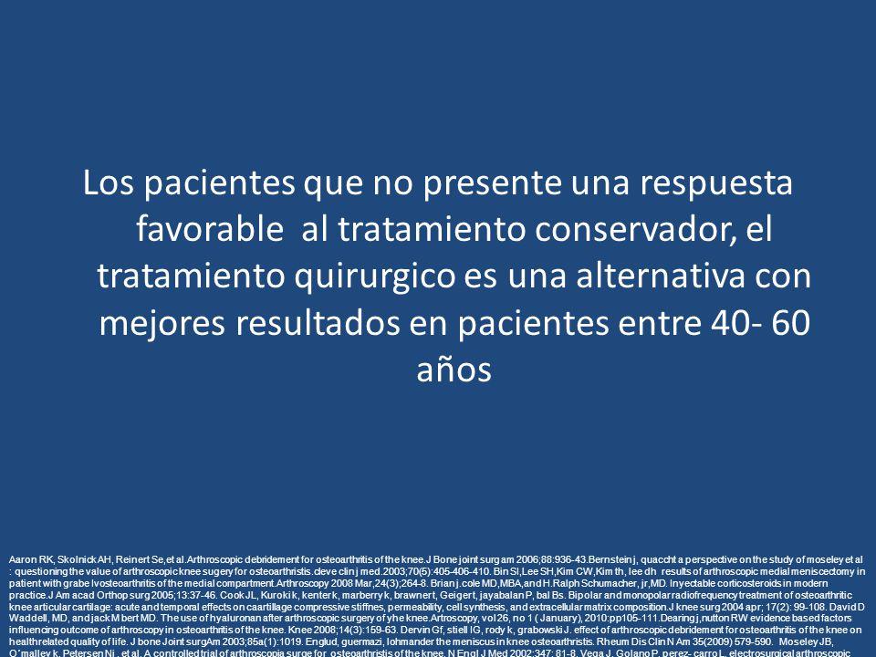 Los pacientes que no presente una respuesta favorable al tratamiento conservador, el tratamiento quirurgico es una alternativa con mejores resultados