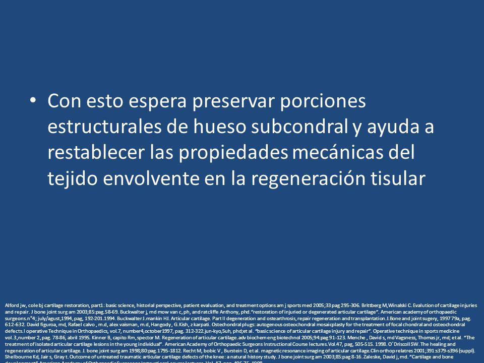 Con esto espera preservar porciones estructurales de hueso subcondral y ayuda a restablecer las propiedades mecánicas del tejido envolvente en la rege