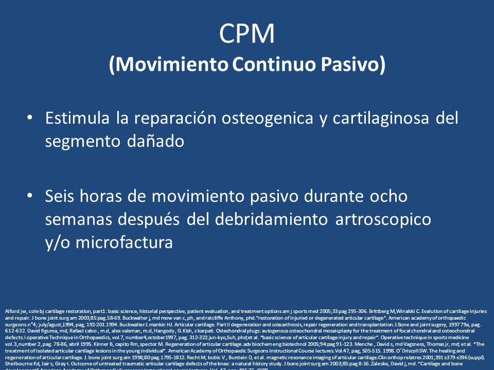 CPM (Movimiento Continuo Pasivo) Estimula la reparación osteogenica y cartilaginosa del segmento dañado Seis horas de movimiento pasivo durante ocho s