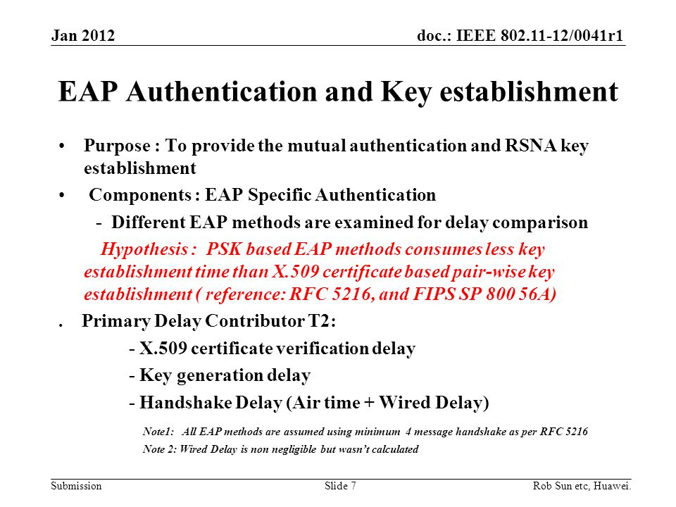 doc.: IEEE 802.11-12/0041r1 Submission EAP Authentication and Key establishment Purpose : To provide the mutual authentication and RSNA key establishment Components : EAP Specific Authentication - Different EAP methods are examined for delay comparison Hypothesis : PSK based EAP methods consumes less key establishment time than X.509 certificate based pair-wise key establishment ( reference: RFC 5216, and FIPS SP 800 56A).