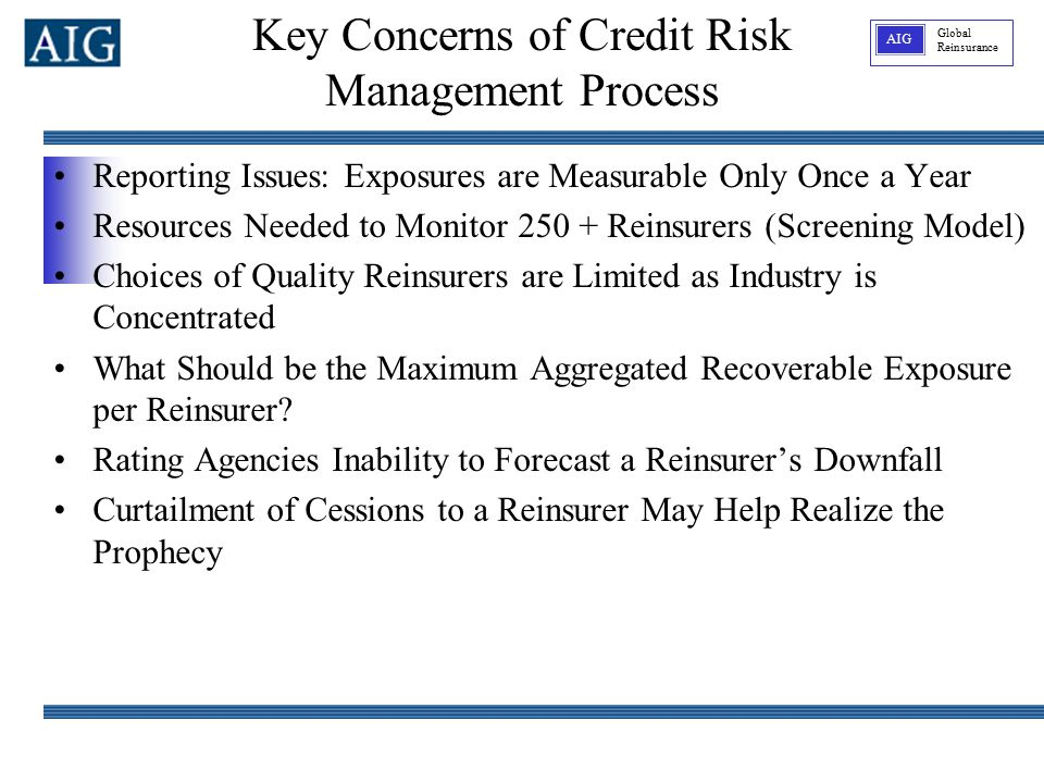 Global Reinsurance AIG Reporting Issues: Exposures are Measurable Only Once a Year Resources Needed to Monitor 250 + Reinsurers (Screening Model) Choices of Quality Reinsurers are Limited as Industry is Concentrated What Should be the Maximum Aggregated Recoverable Exposure per Reinsurer.