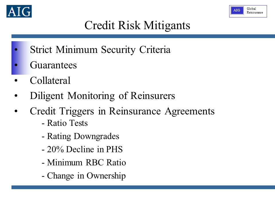 Global Reinsurance AIG Strict Minimum Security Criteria Guarantees Collateral Diligent Monitoring of Reinsurers Credit Triggers in Reinsurance Agreements - Ratio Tests - Rating Downgrades - 20% Decline in PHS - Minimum RBC Ratio - Change in Ownership Credit Risk Mitigants