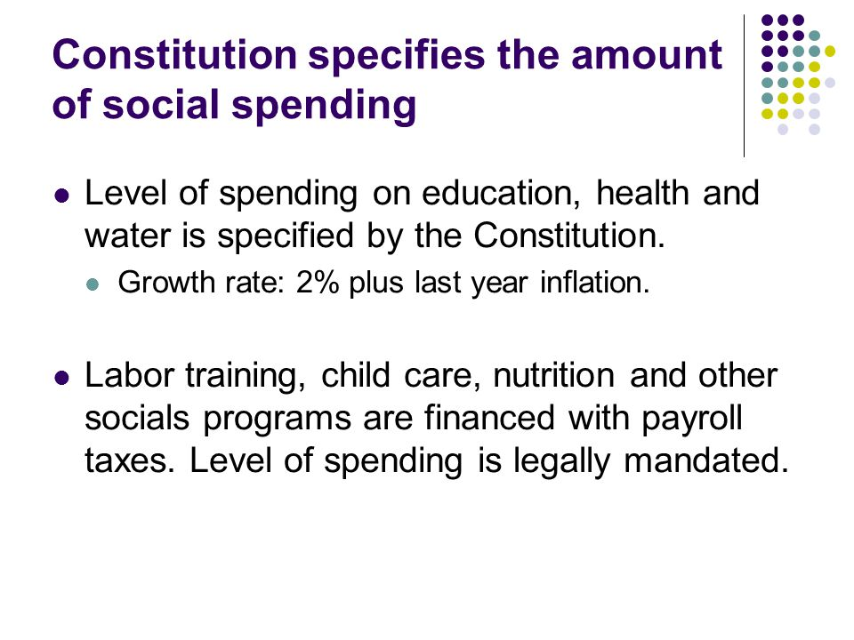 Constitution specifies the amount of social spending Level of spending on education, health and water is specified by the Constitution.