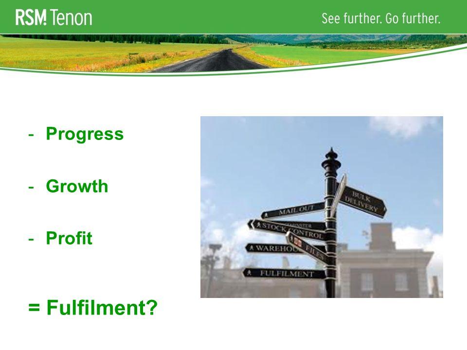 -Progress -Growth -Profit = Fulfilment
