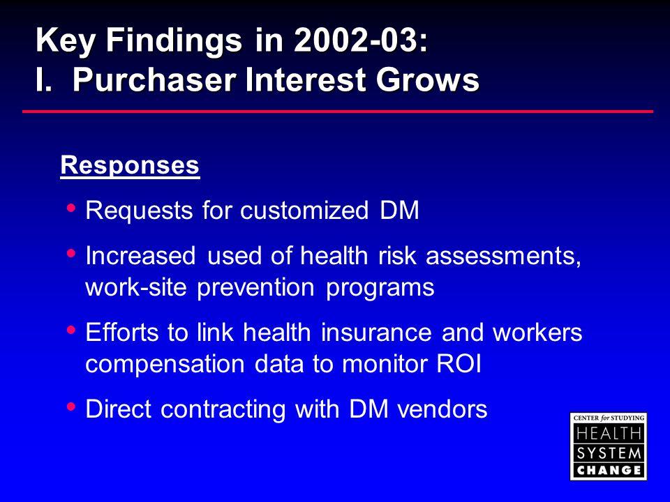 Key Findings in 2002-03: II.
