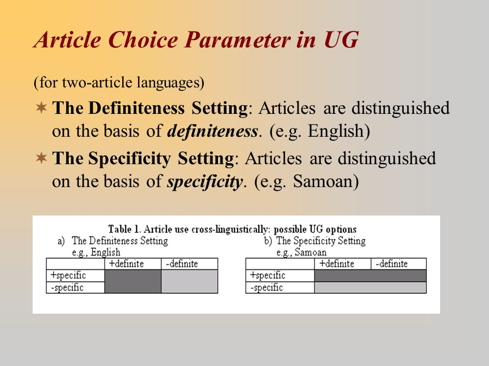 Article Choice Parameter in UG (for two-article languages)  The Definiteness Setting: Articles are distinguished on the basis of definiteness. (e.g.