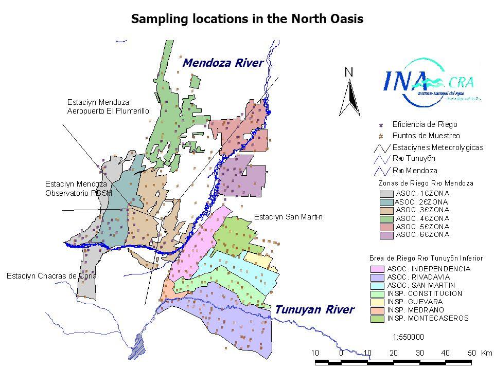 Sampling locations in the North Oasis Mendoza River Tunuyan River