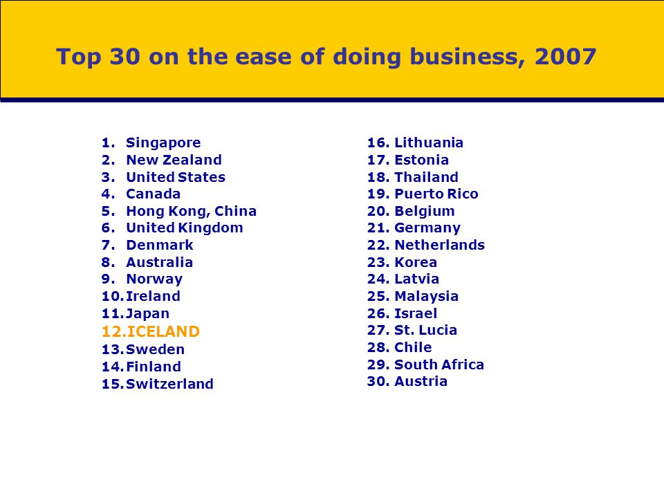 OECD easiest for doing business Average ease of Doing Business in 2007