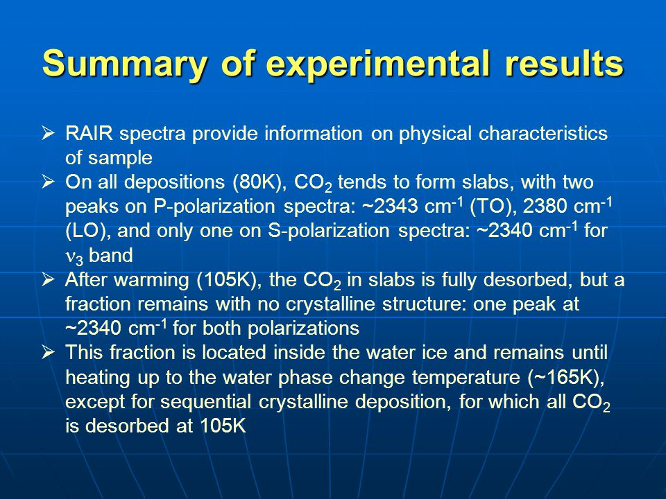Summary of experimental results   RAIR spectra provide information on physical characteristics of sample   On all depositions (80K), CO 2 tends to