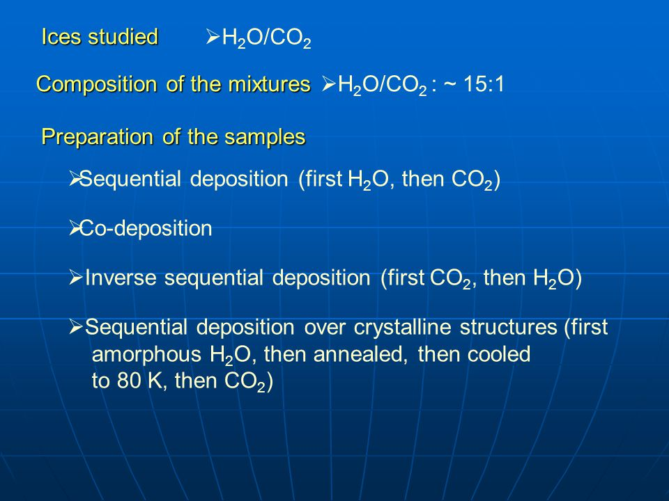 Ices studied  H 2 O/CO 2 Composition of the mixtures  H 2 O/CO 2 : ~ 15:1 Preparation of the samples  Sequential deposition (first H 2 O, then CO 2