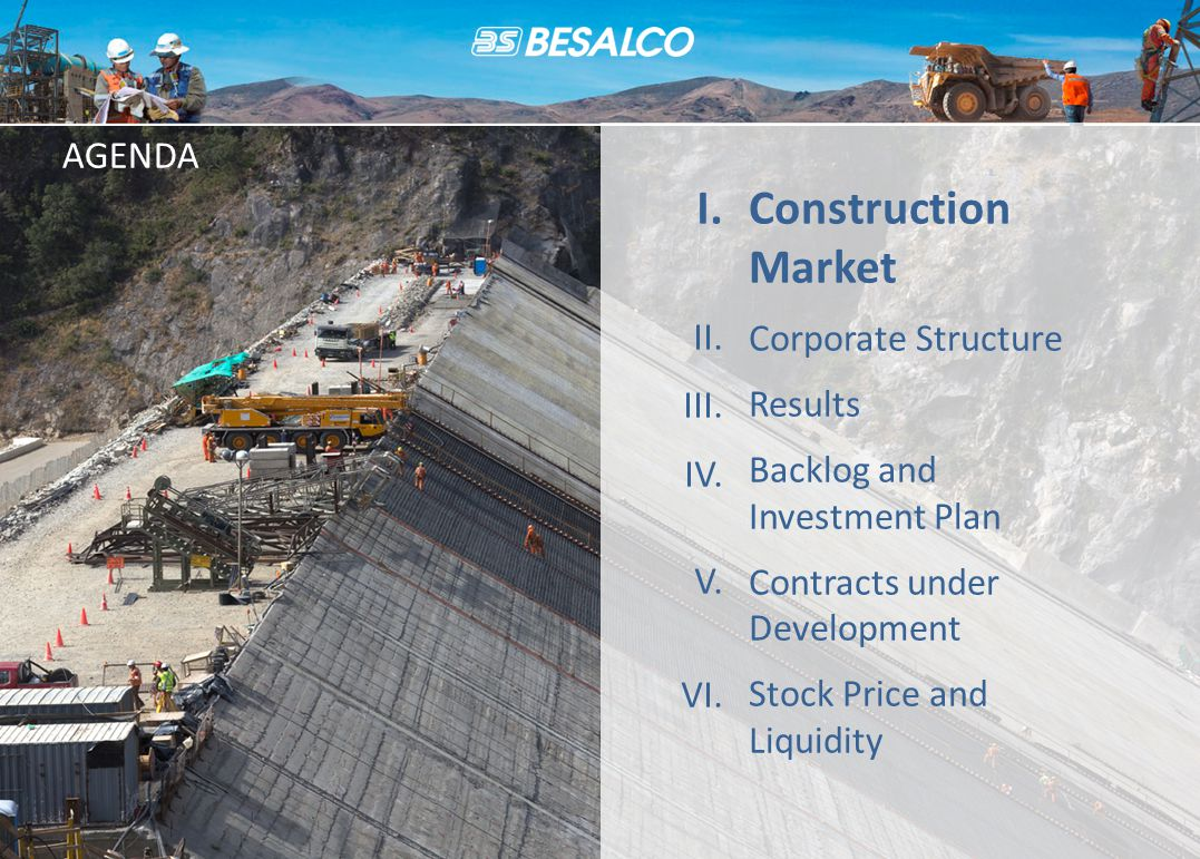 AGENDA Construction Market Corporate Structure Results Backlog and Investment Plan Contracts under Development Stock Price and Liquidity I.