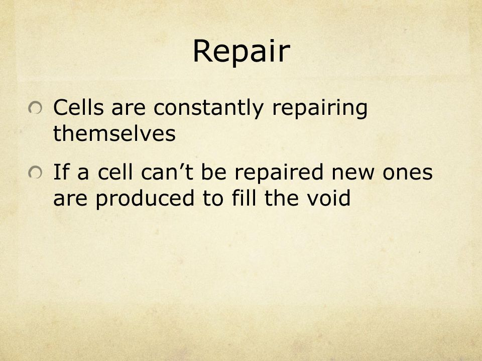 Repair Cells are constantly repairing themselves If a cell can't be repaired new ones are produced to fill the void