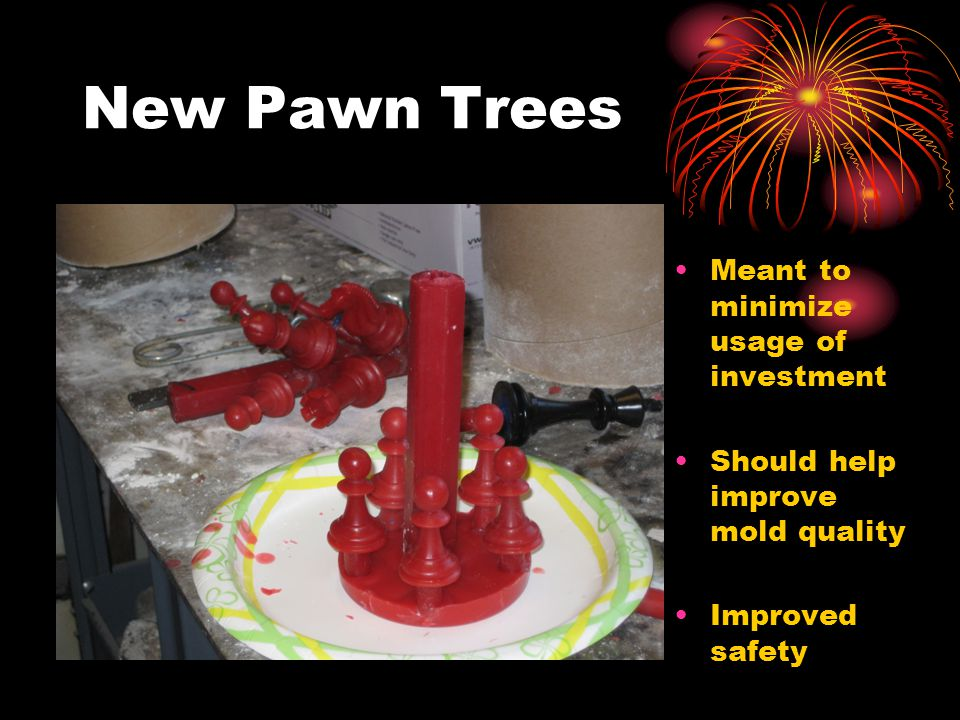 New Pawn Trees Meant to minimize usage of investment Should help improve mold quality Improved safety