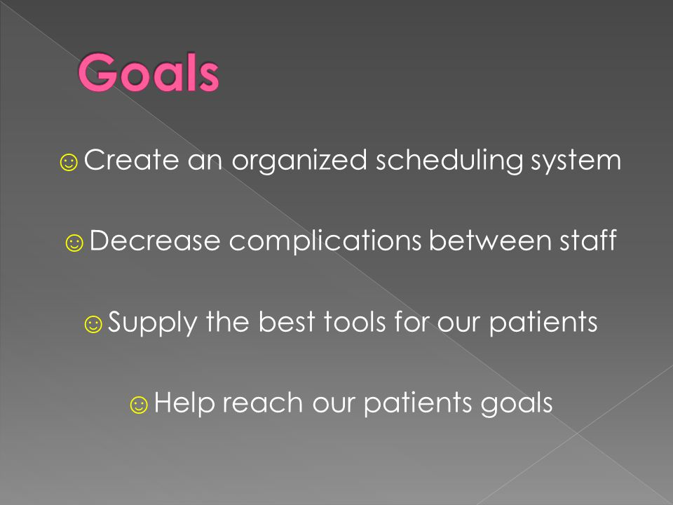 ☺Create an organized scheduling system ☺Decrease complications between staff ☺Supply the best tools for our patients ☺Help reach our patients goals