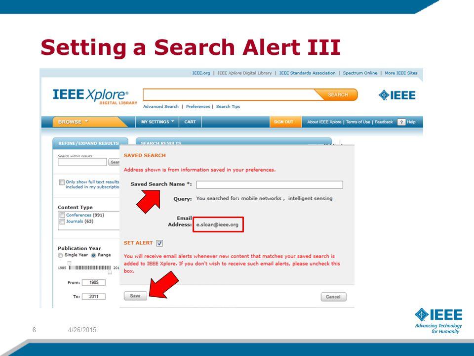 Setting a Search Alert III 4/26/20158