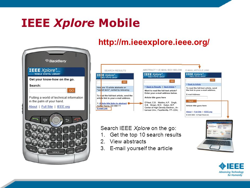 IEEE Xplore Mobile http://m.ieeexplore.ieee.org/ Search IEEE Xplore on the go: 1.Get the top 10 search results 2.View abstracts 3.E-mail yourself the article