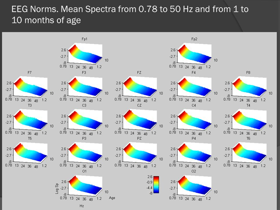 EEG Norms. Mean Spectra from 0.78 to 50 Hz and from 1 to 10 months of age