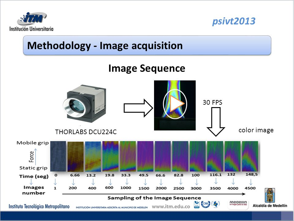 Image Sequence psivt2013 Methodology - Image acquisition THORLABS DCU224C 30 FPS color image
