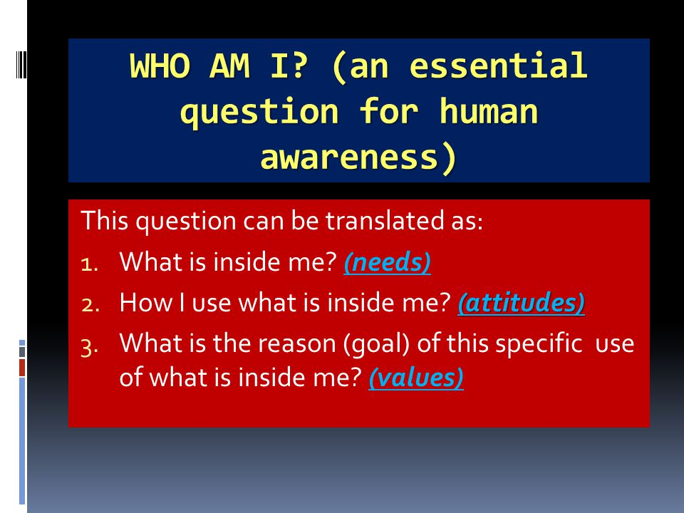 WHO AM I. (an essential question for human awareness) This question can be translated as: 1.