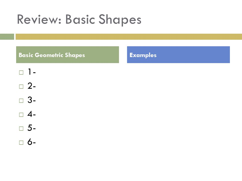 Review: Basic Shapes  1-  2-  3-  4-  5-  6- Basic Geometric ShapesExamples
