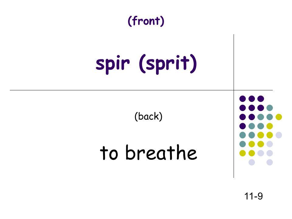 (front) spir (sprit) (back) to breathe 11-9