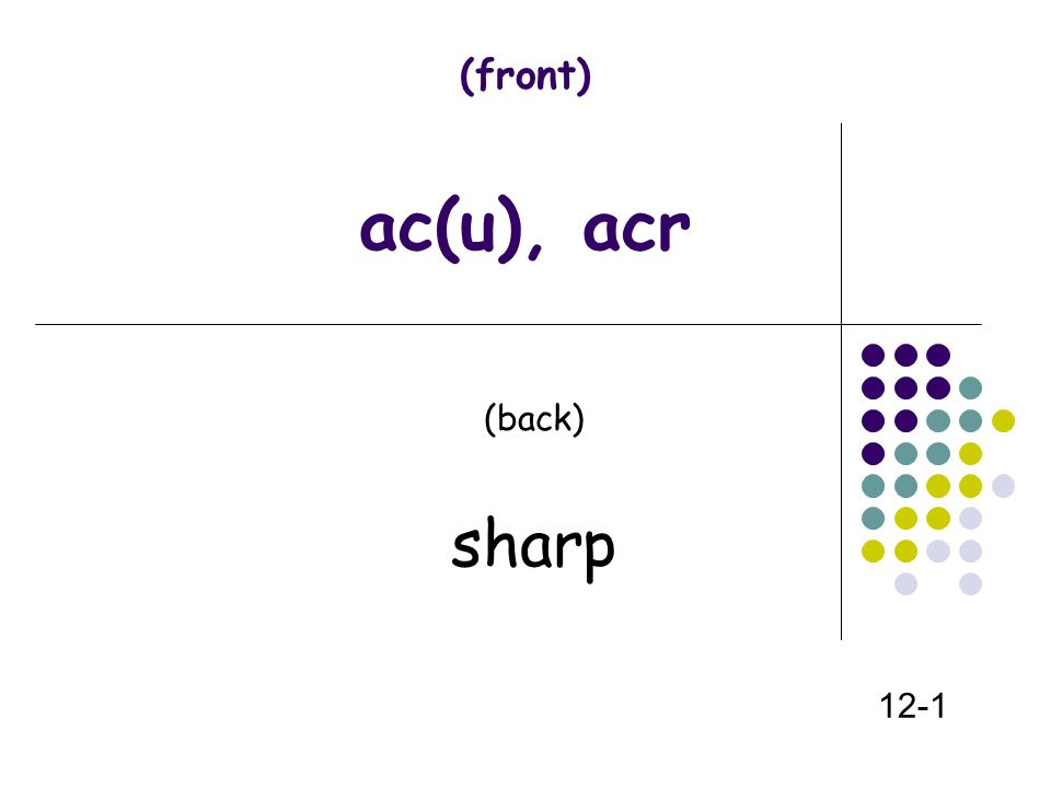 (front) ac(u), acr (back) sharp 12-1