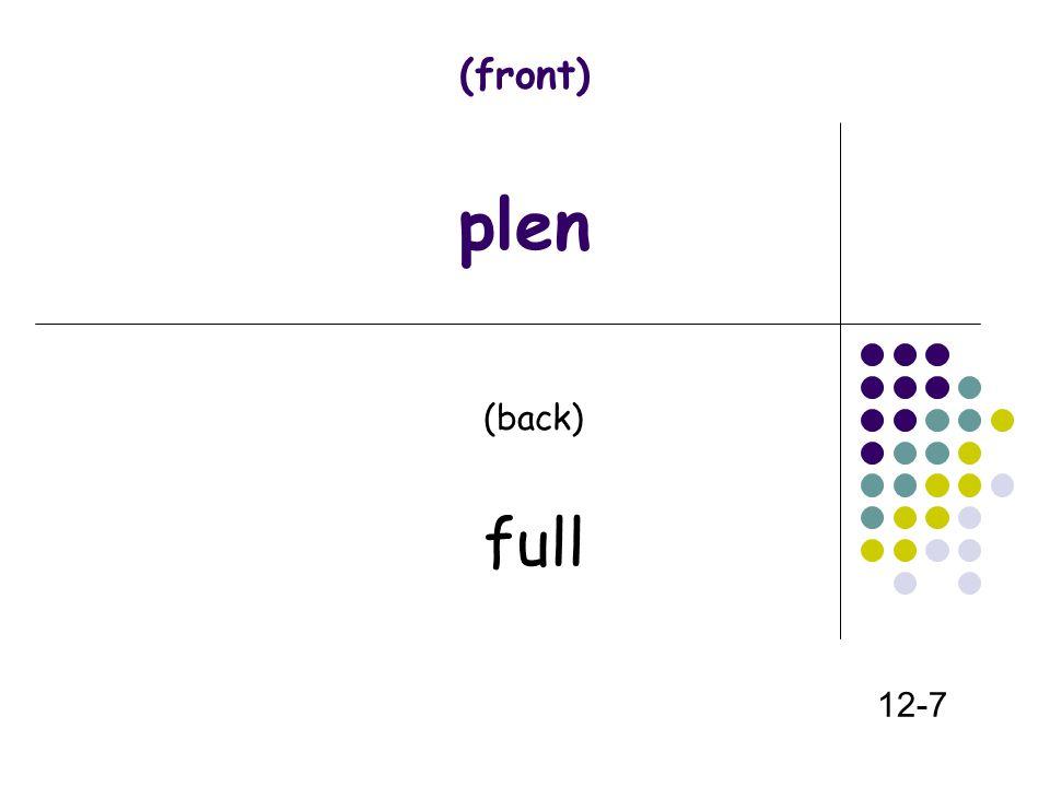 (front) plen (back) full 12-7